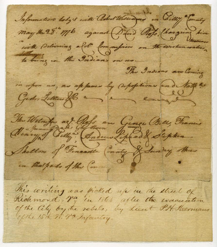 Legal document found in Richmond