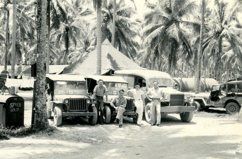 Medical Corps Motorpool, 57th Naval Construction Battalion, December 27, 1943. Williamson is on the right.