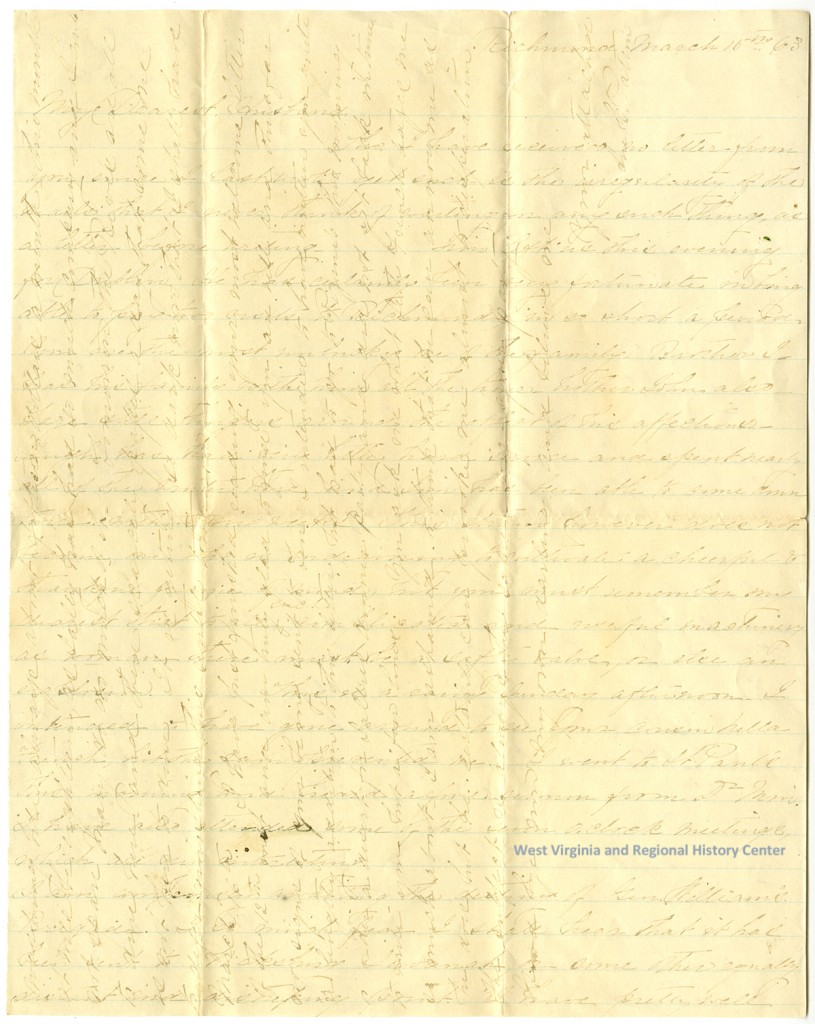 Handwritten letter from Sue Patton to her husband, page 1