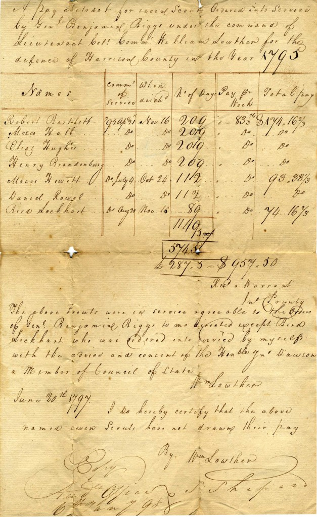 Document describing the payment of scouts in 1795