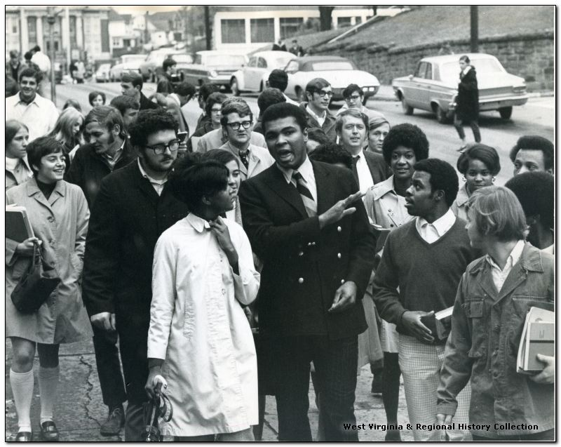 Muhammad Ali speaking to a crowd on campus at WVU, 1969