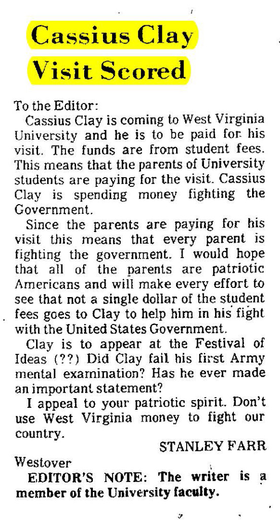 Letter to the Editor regarding Cassius Clay [Muhammad Ali] visit to WVU campus in 1969