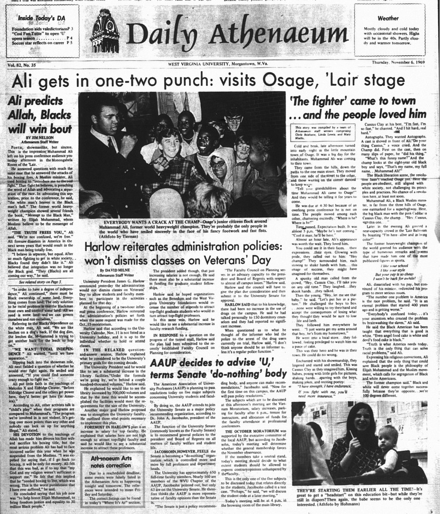 Front page of Daily Athenaeum paper with article about Muhammad Ali's visit to WVU