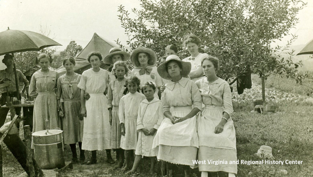 Posed outdoor portrait of girls from canning club