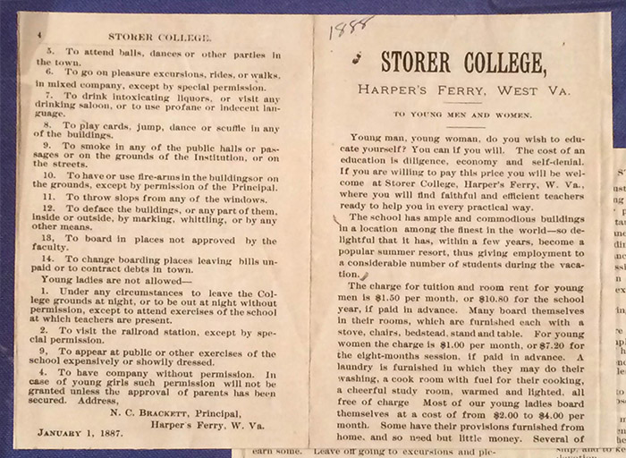 Pages about Storer College rules ca. 1887-1888