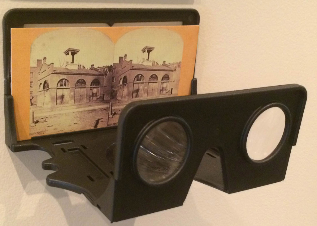 Stereoscope showing stereo card of Harpers Ferry Engine House