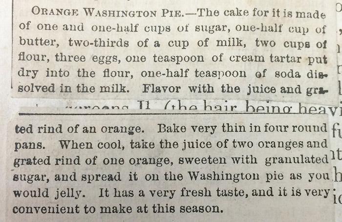 Clipping of recipe for Orange Washington Pie