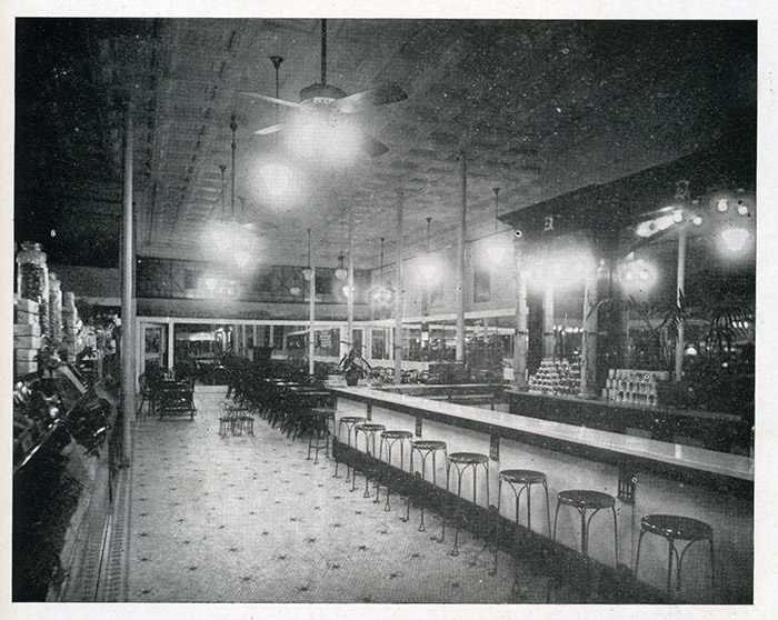 Interior view of Communtzis soda fountain, Morgantown, WV