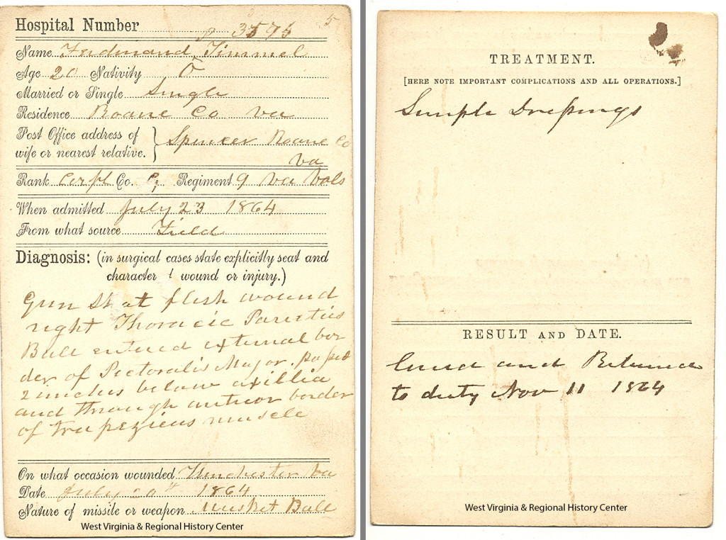 Front and back of a Clarysville Hospital bed card