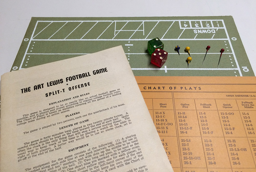 Board and instructions of Art Lewis Football Game