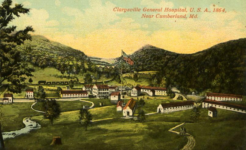 Postcard showing location of Clarysville Hospital