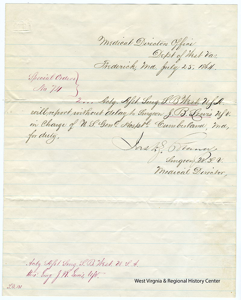 Acting Assistant Surgeon, Dr. S.B. West's appointment letter