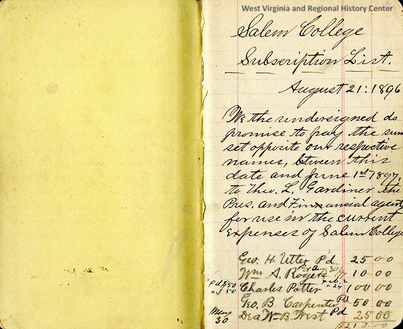 Page 1 of Salem College Book of Pledges, from 1896