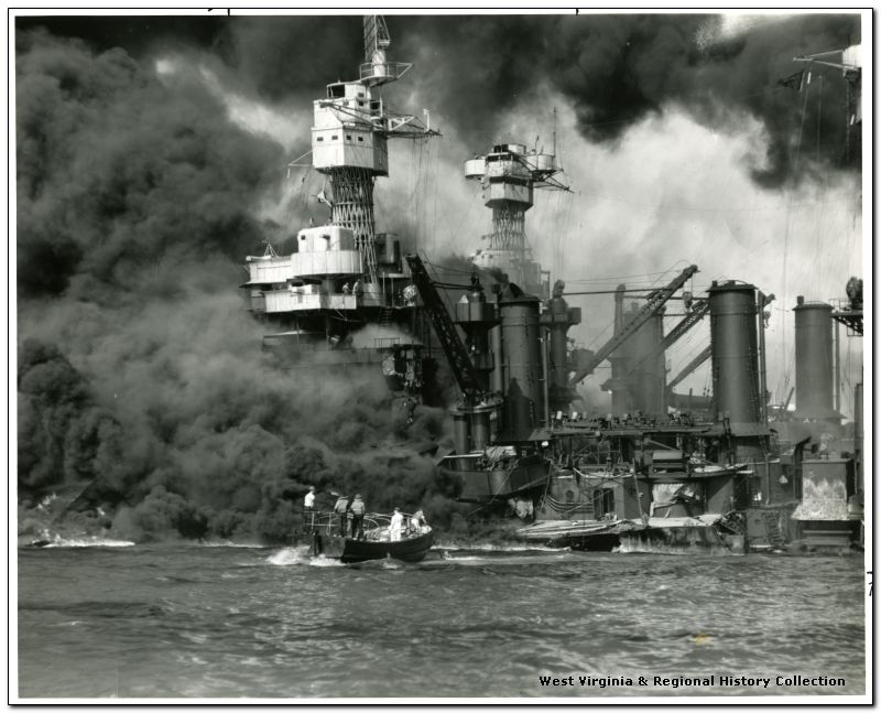 Crew Rescuing Men of the U.S.S. West Virginia During the Attack on Pearl Harbor