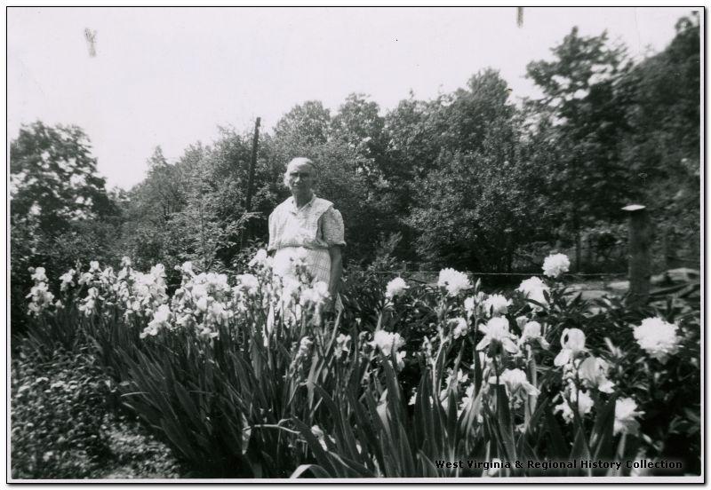 Louise Nicholas, 87, standing in her Garden, Preston County, W. Va.