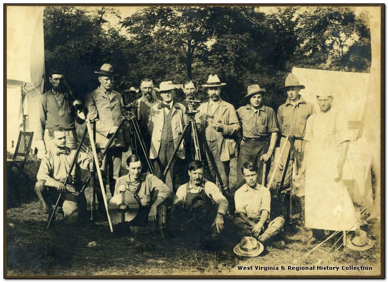 A group portrait of the Deakins Line Surveying Team of Preston County, West Virginia.