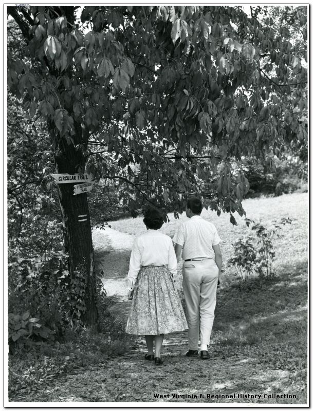 Couple Strolling on a Trail at the Arboretum, West Virginia University