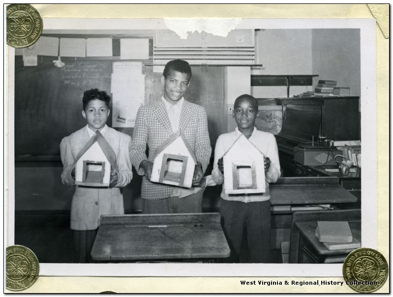 Three Male African-American 4-H Members with Birdhouses, Kanawha County, W. Va.