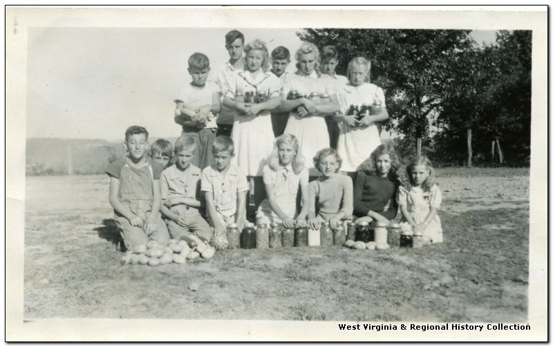 4-H Group with Canned Foods and Vegetables, Summers County, W. Va.