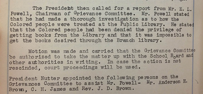 Excerpt from Minutes of Charleston WV branch NAACP