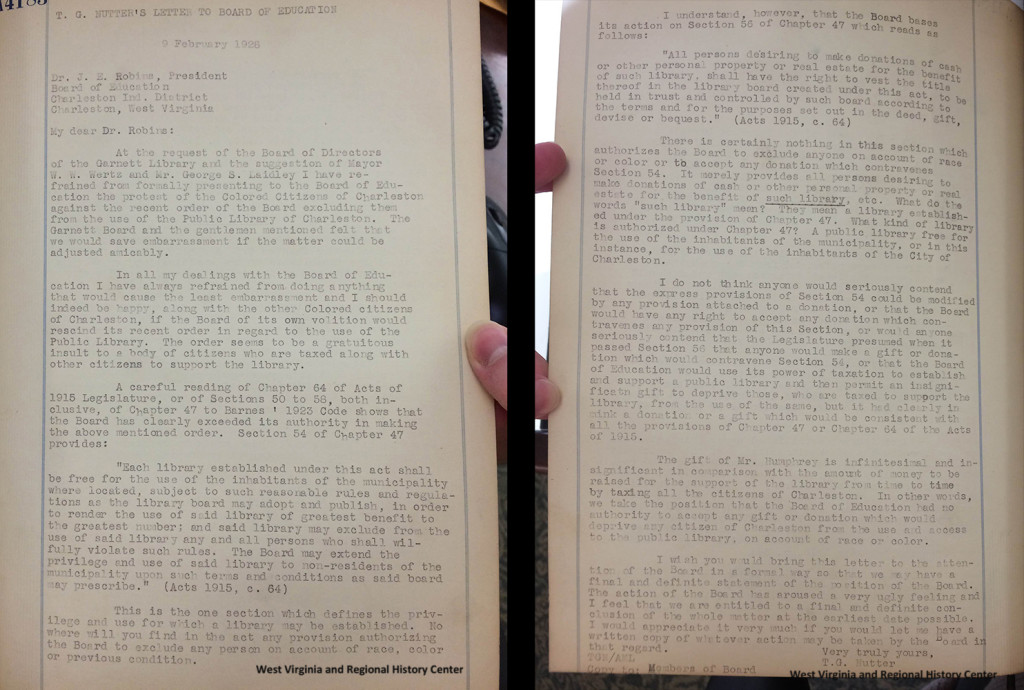 Letter in the Minutes of Charleston WV branch NAACP