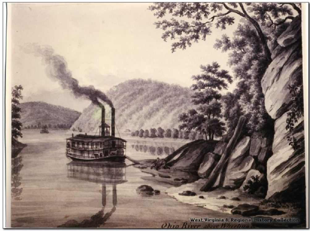 Painting of a Steamboat on the Ohio River at Wheeling, W.Va.