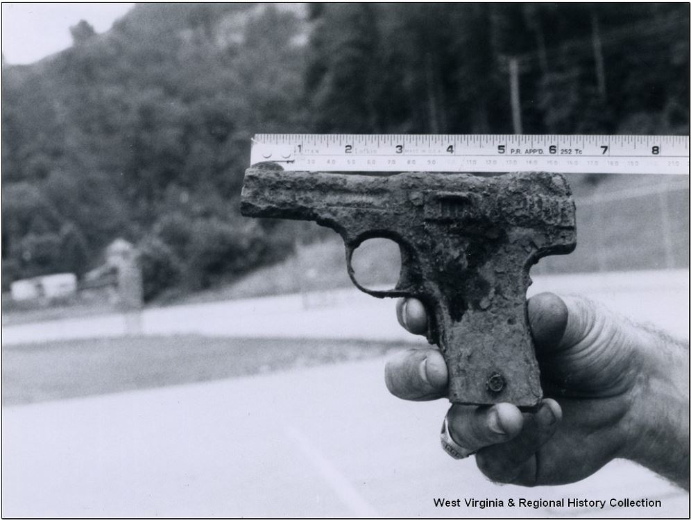 Photograph of a semi-automatic Smith and Wesson, likely from the Battle of Blair Mountain.