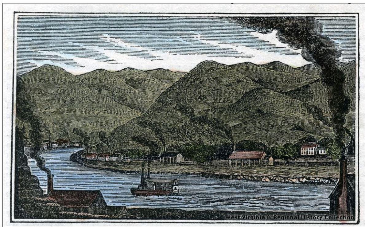 Engraving of Salt-Works on Kanawha River, W. Va.