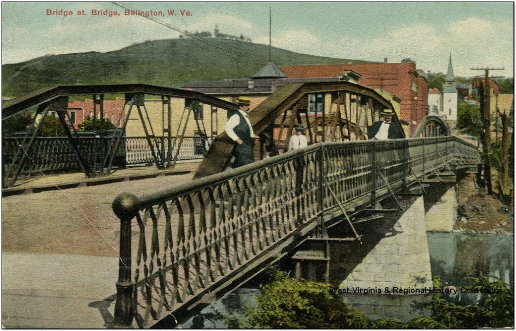 People standing on Bridge on Bridge Street in Belington, WV