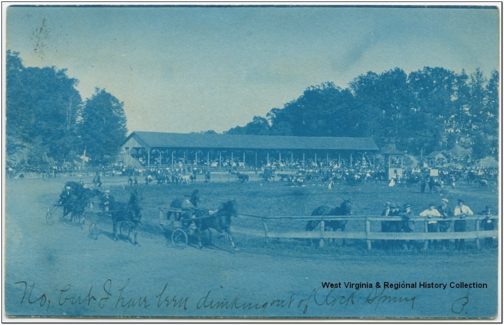 Blue tinted image of Horse Racing Event; Hancock County, W. Va.