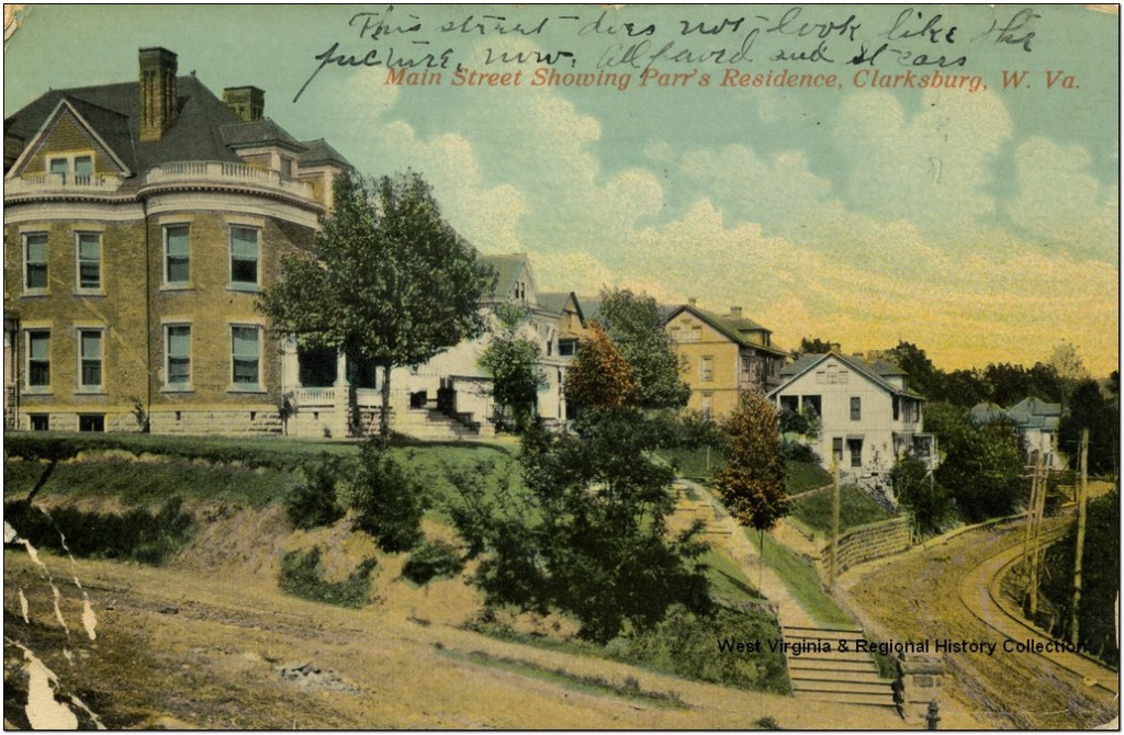 Postcard labeled Main Street Showing Parr's Residence, Clarksburg, WV (probably actually Lee Avenue)