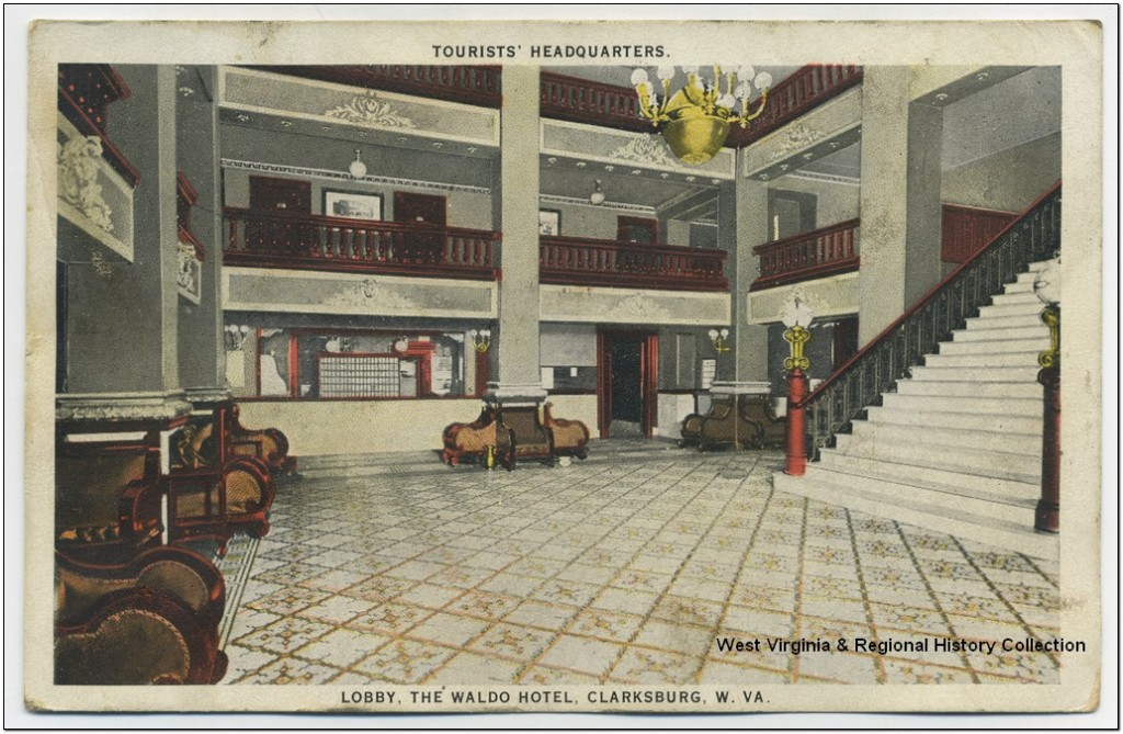 Lobby of the Waldo Hotel in Clarksburg, WV