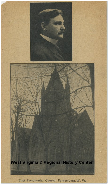 Portrait of unidentified man and First Presbyterian Church in Parkersburg, WV