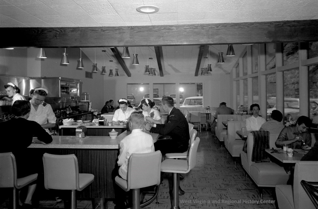 Opening crowd, Winns Restaurant, 13 October 1957