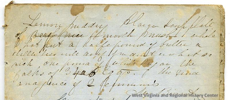 Handwritten recipe for lemon pudding