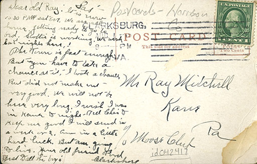 Back of a postcard, with writing on it