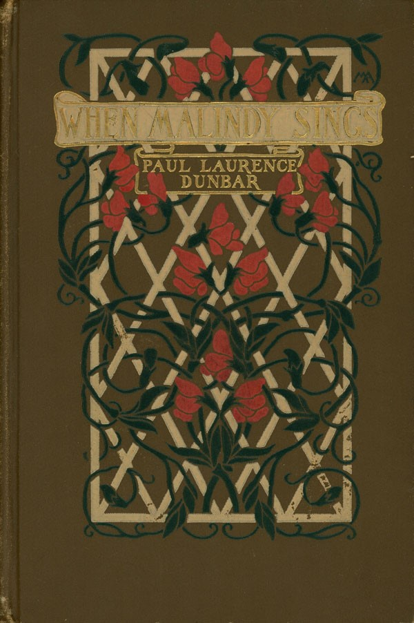 Cover of book titled When Malindy Sings, with trellis and floral vine design