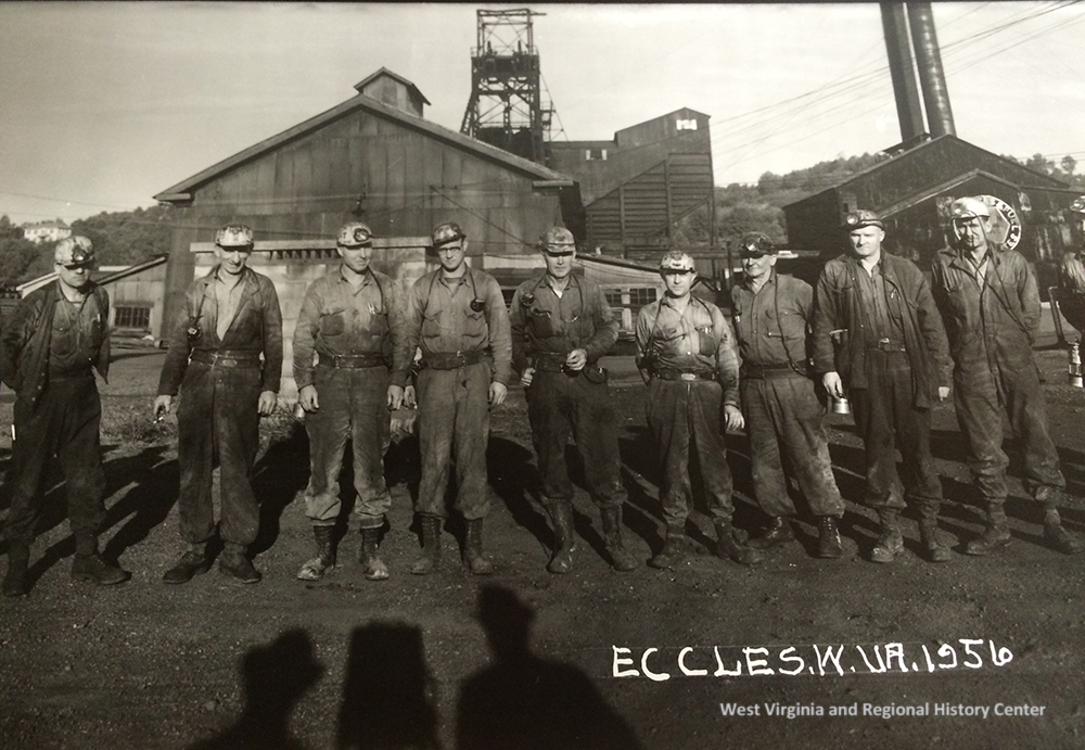 Group of Miners with shadow of Photographer Ribble, Eccles, WV, 1956