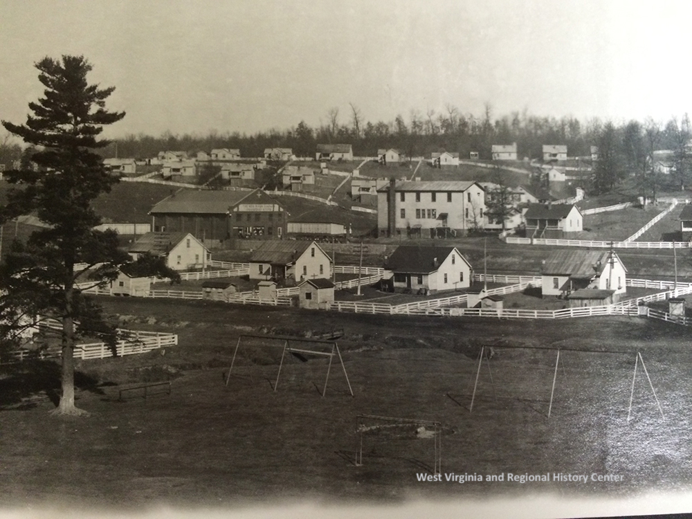 Unidentified town with houses and playground equipment