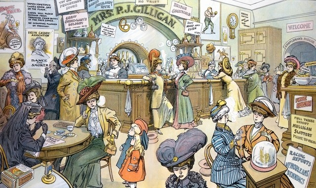 Puck magazine's Women's Suffrage centerfold, showing women in fancy dress at a bar, with children