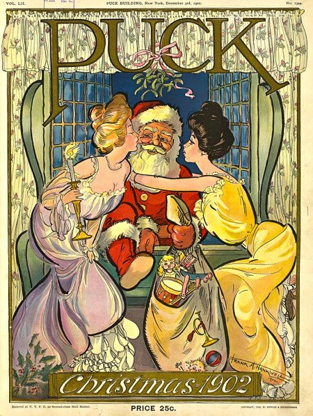 Christmas 1902 cover of Puck, showing two women kissing Santa