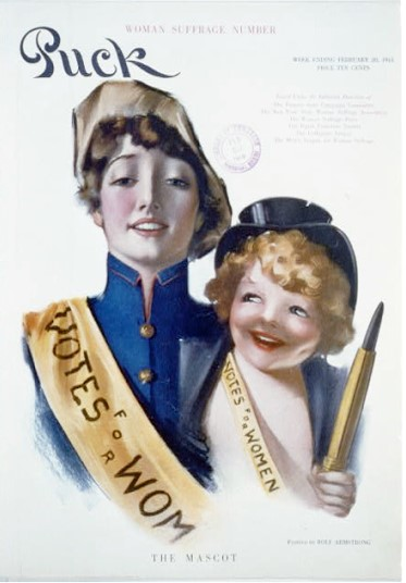 Puck magazine cover showing two people wearing Votes for Women sashes