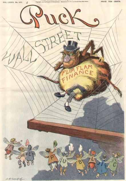 Puck magazine cover showing a web that says Wall Street and a Spider that says Flim Flam Finance