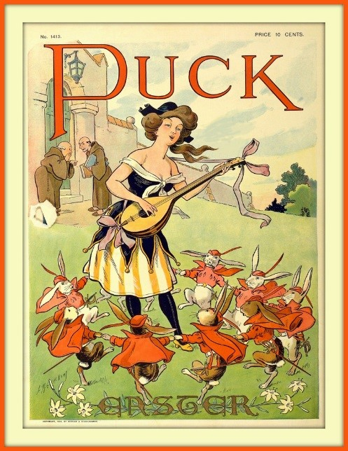Puck magazine cover showing a minstrel woman surrounded by dancing rabbits for Easter