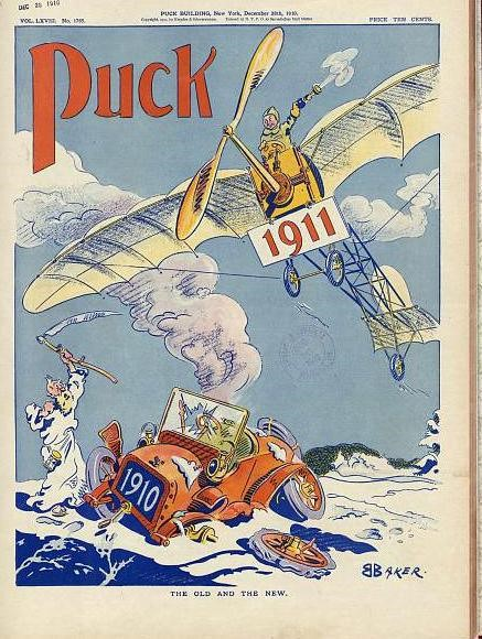 Puck magazine cover for New Years, showing 1910 as a broken down car and 1911 as a flying airplane