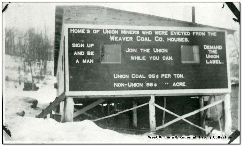 Union signage on barracks at Irona, Preston County, West Virginia