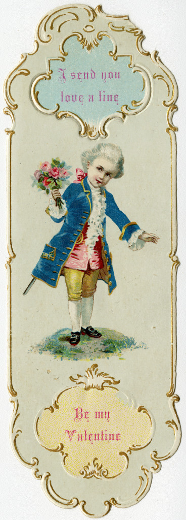 Valentine bookmark showing a well-dressed 18th century man holding flowers.