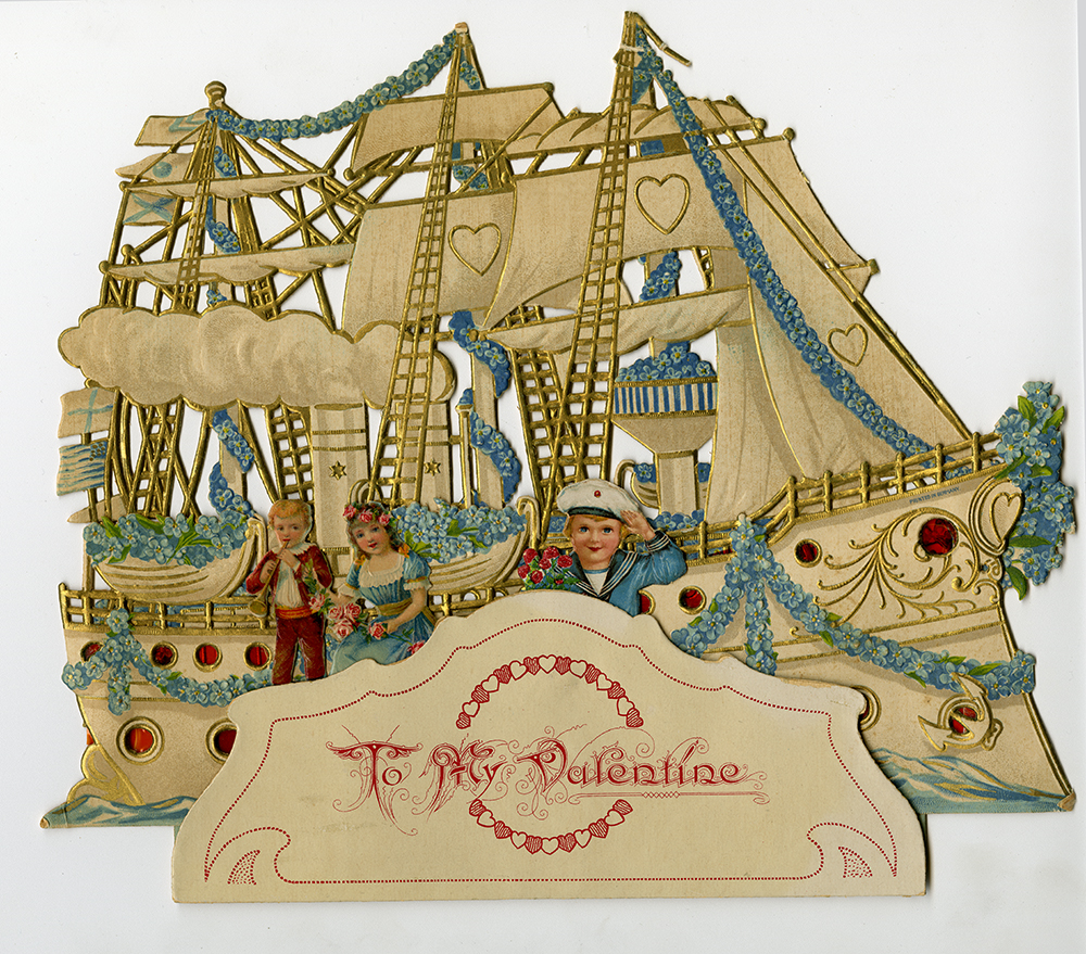 Valentine showing an ornate ship with three people.