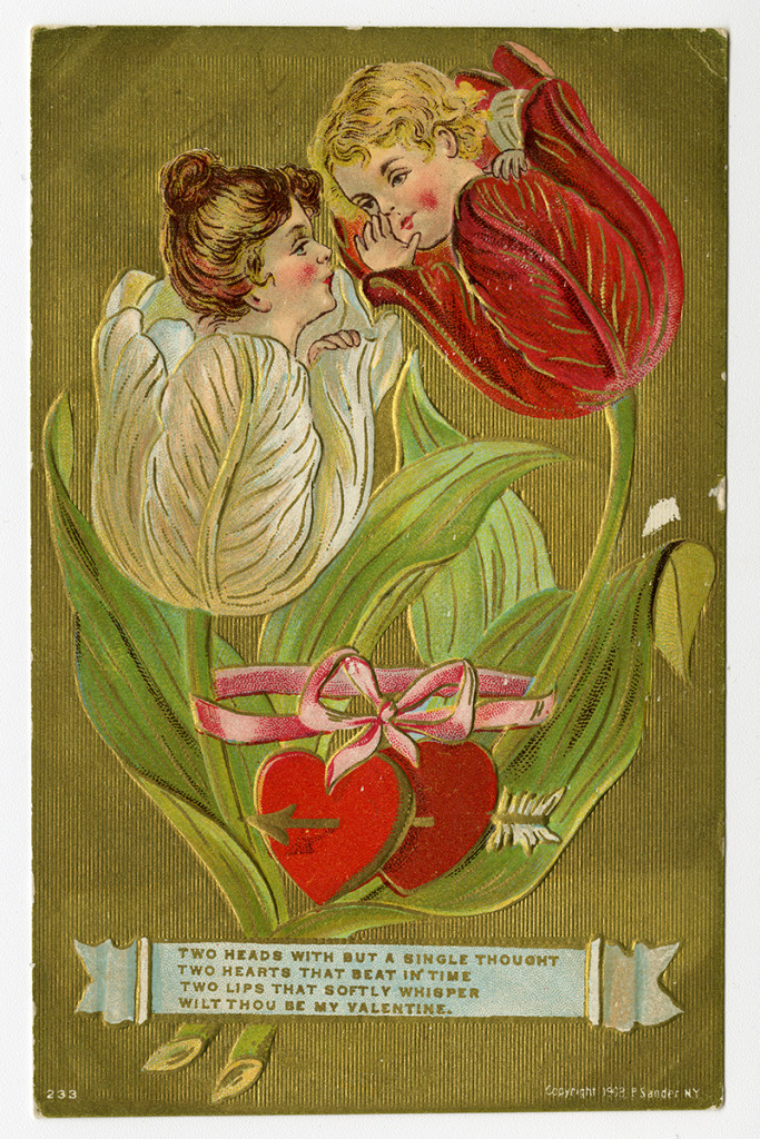 Valentine card showing two faces peeking out of tulip blooms, with a short poem.