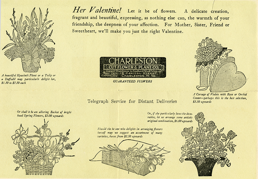 Advertisement for valentine flower products from Charleston Cut Flower & Plant Co.